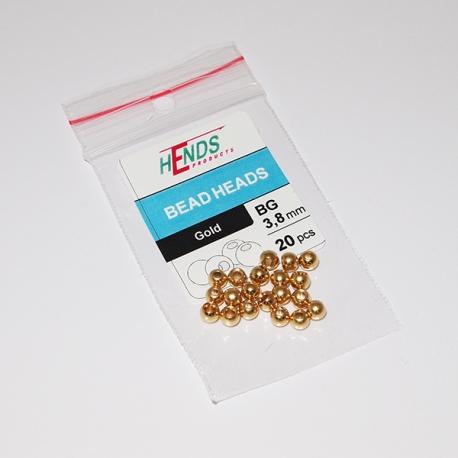 Hends Brass Beads 3.8mm / 20pc Gold