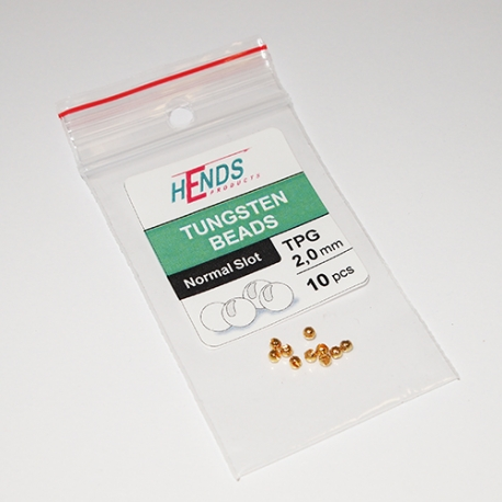 Hends Tungsten Slotted Beads 2.0mm / 10pc Gold