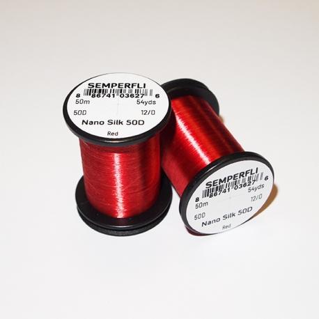 Semperfli Nano Silk 50D 12/0 Thread / Red